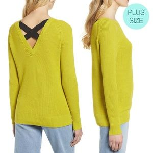 Halogen Lime Cross Back Knit Pullover Sweater